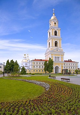 Bell tower, Trinity church with convent gardens, Diveyevo, Russia