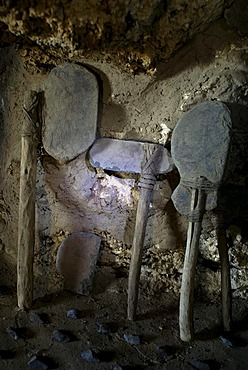 Prehistoric weapons and tools in a cave, Uyuni Highlands, Bolivia