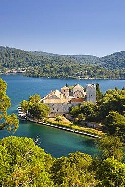 Benedictine Monastery on St. Mary's Island in Veliko jezero, Mediterranean Sea, Mljet National Park, Mljet Island, Dubrovnik-Neretva, Dalmatia, Croatia, Europe
