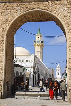 Street scene at Bab al-Menchia, Tripolis, Libya