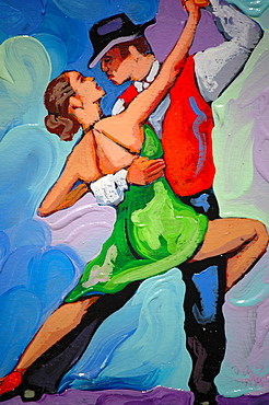 Painting of tango dancers at Caminito, La Boca, Buenos Aires, Argentina
