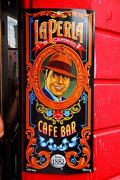 Sign that shows tango singer Carlos Gardel, La Boca, Buenos Aires, Argentina
