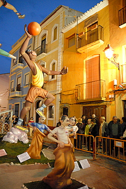 "Colourful paper-mache figures at the ""Fallas"" festival, Denia, Spain, Europe"