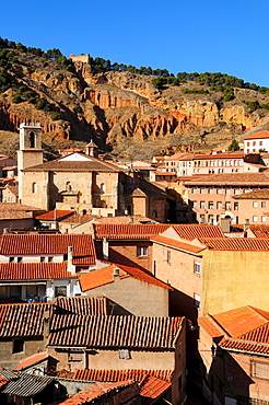 View of the village and Iglesia de Santa Maria de los Corporales church in Daroca, Zaragoza Province, Aragon, Spain, Europe