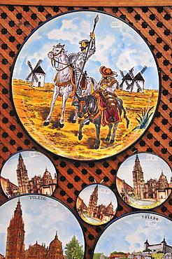 Plate with an illustration of Don Quixote, Don Quijote and Sancho Pansa at a souvenir shop in Toledo, Spain