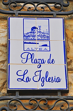 Painted tiles, sign, Plaza de la Iglesia, in Altea, Costa Blanca, Spain