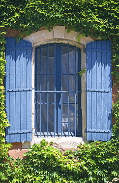 Window with blue shutters, Provence, France