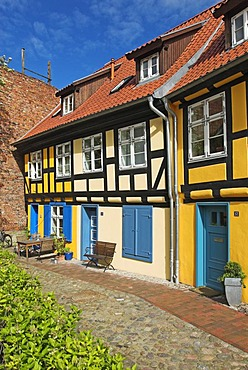 Timber framed architecture in the Johannis monastery, Hanseatic city of Stralsund, Mecklenburg Western Pomerania, Germany, Europe