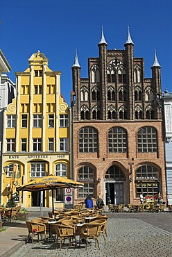 Brick-lined architecture in the Hanseatic city of Stralsund, Mecklenburg Western Pomerania, Germany, Europe