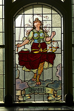 Glass painting, Lady Justice, district court Bremen, Germany
