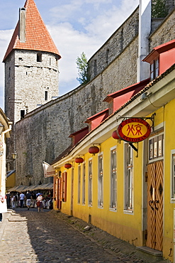 Historic centre, shops and town wall in Tallinn, Estonia, Europe
