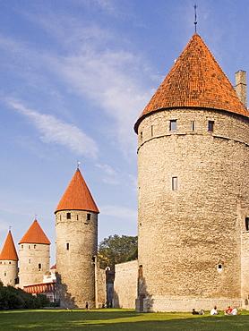 Town wall with towers, Tallinn, Estonia, Europe