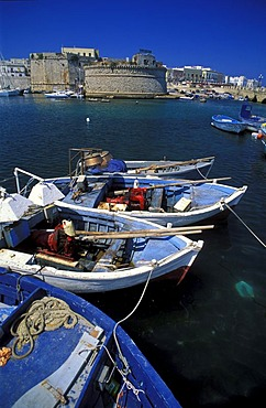 Fishing boats in the harbour of Gallipoli, Puglia, Italy