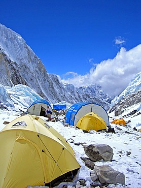 Yellow tents and crew tents in camp II, 2, Western Cwm, 6500m, Mount Everest, Himalaya, Nepal