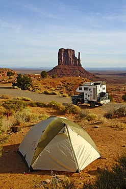 Tent and pick up with camping cabin at the camping site of the Monument Valley, Arizona, USA