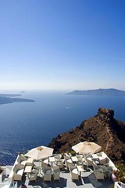 Cafe beside the Skaros Rock in front of the caldera, Santorini, Cyclades, Aegean Sea, Greece