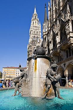Fisch fountain on the Marienplatz Square, Munich, Upper Bavaria, Germany, Europe, PublicGround