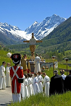 Open-air mass Corpus Christi procession Wiler Valais Switzerland
