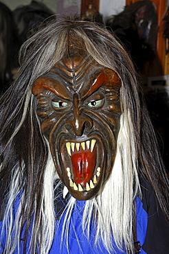 Tschaeggaetae, traditional wooden mask made of Swiss pine wood, mask workshop Wiler, Loetschental, Valais, Switzerland