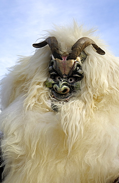 Sheep mask, Tschaeggaetae, Carnival masks, Wiler, Loetschental, Valais, Switzerland