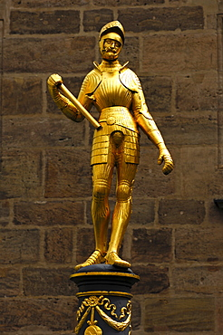Gilded knight figure as a fountain figure, Margrave Georg Fountain, Ansbach, Franconia, Bavaria, Germany, Europe