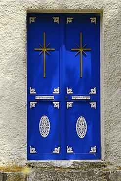 Cloister, blue door with crosses, Kefalonia, Ionian Islands, Greece