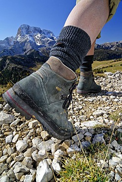 Legs of a hiker with climbing boots