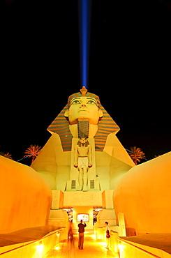 "Sphinx replica and the ""space beam, "" main entrance to the Luxor Hotel & Casino, Las Vegas Boulevard, Las Vegas, Nevada, USA, North America"
