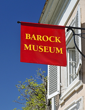 Sign for the Baroque Museum in the Mirabell Gardens, Salzburg, Austria, Europe