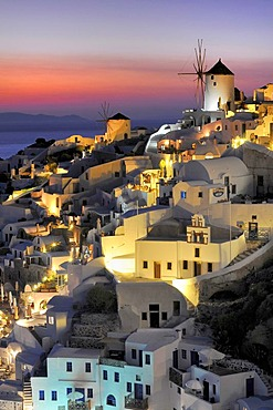 Part of the town of Oia, Ia, at sunset, Santorini, Cyclades, Greece, Europe