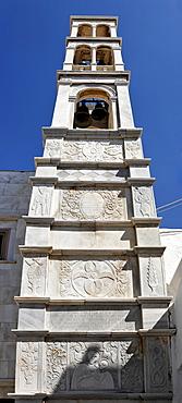 Marble bell tower (19 century) at the Panajia-Tourliani monastery, Ano Mera, Myconos, Greece