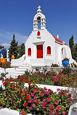 A colourful chapel at a hotel, Myconos, Greece