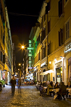 Alleys and restaurants near the Spanish Steps (Italian: Scalinata della Trinita dei Monti) at night, Rome, Italy, Europe