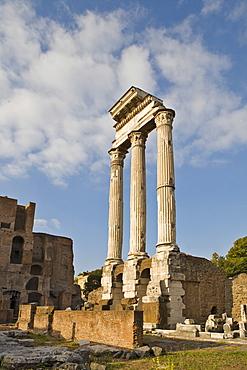 Columns, Temple of Castor and Pollux, Forum Romanum, Rome, Italy, Europe