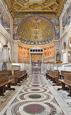 Nave with coffered ceiling and ciborium in San Clemente Church, Rome, Italy, Europe