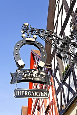 Sign for a brewery inn, Pottenstein, Franconian Switzerland, Bavaria, Germany, Europe