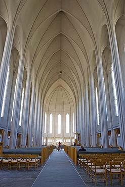 Interior, Hallgrimskirkja (Hallgrimur's Church), Reykjavik, Iceland, Atlantic Ocean