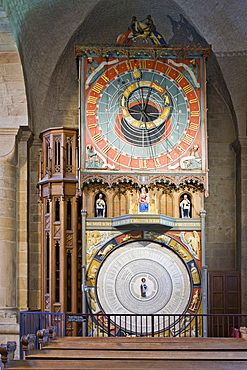 Astronomical clock with zodiac signs (Horologium Mirabile Lundense, fourteenth century) at Lund Cathedral (twelfth century), Lund, Scania, Sweden, Scandinavia, Europe