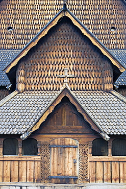 Exterior, Heddal Stave Church (Heddal Stavkirke), thirteenth-century stave church in Norway, Scandinavia, Europe