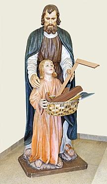 Statue of St. Joseph at a church in Furth, Triestingtal, Lower Austria, Austria, Europe