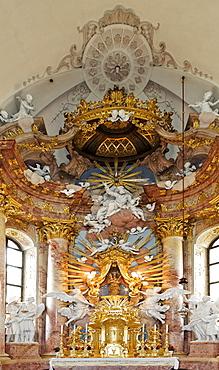 Detail, high altar and image of the Virgin at the Baroque pilgrimage church in Hafnerberg, Triesingtal (Triesing Valley), Lower Austria, Austria, Europe