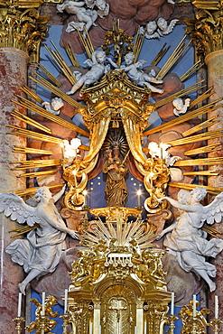 Image of the Virgin Mary at the Baroque pilgrimage church in Hafnerberg, Triesingtal (Triesing Valley), Lower Austria, Austria, Europe