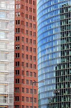 Three high-rise buildings at Potsdamer Platz Square, architectural detail, from ltr, PwC, PricewaterhouseCoopers, Kollhoff-Tower, BahnTower, Berlin, Germany, Europe