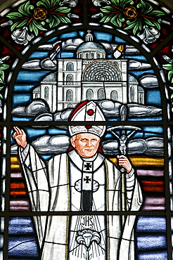 Church of pilgrimage, window picture of Pope John Paul II, Caacupe, Paraguay, South America