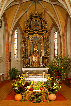 Baroque Thanksgiving altar in gothic choir, Holzhausen, Upper Bavaria, Germany