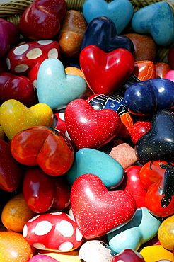 Colourful hearts in a a heap, decorations