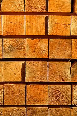 Wooden beams on a lumberyard