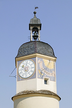 Sundial and clock at tower, Burghausen, Upper Bavaria, Germany