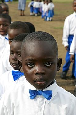 Kindergarten boys wearing uniforms, Cameroon, Africa