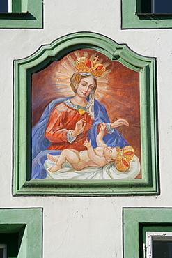 Wall mural on a building facade in Muehldorf am Inn, Upper Bavaria, Bavaria, Germany, Europe